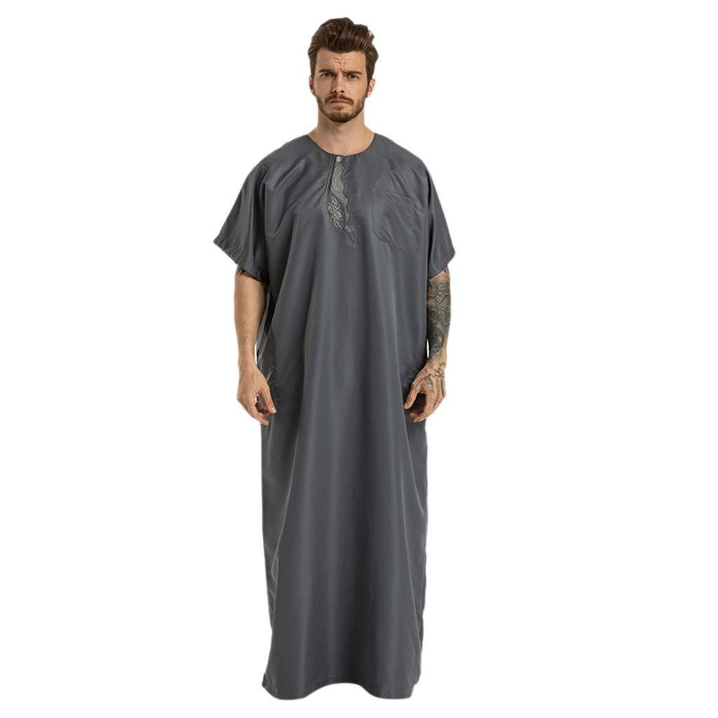 Men Muslim Ethnic Long Robes Summer Casual Loose Fit Short Sleeve O-neck Islamic Muslim Middle East Maxi Dress Kaftan (L, Gray)
