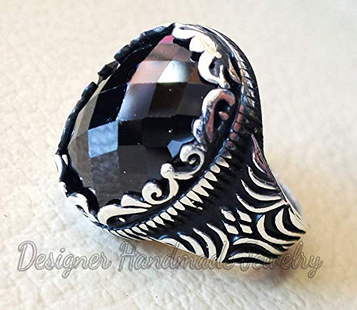 - NATURAL BLACK ONYX RING SOLID 925 STERLING SILVER RING OVAL SHAPE GEMSTONE RING ALL SIZE RING MIDDLE EASTERN ORIENTAL OTTOMAN ARABIC TURKISH STYLE