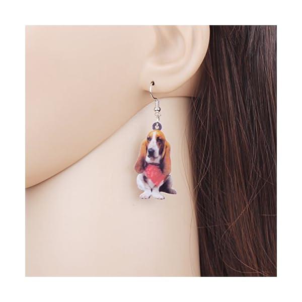 NEWEI Acrylic Sweet Basset Hound Dog Earrings Drop Dangle Fashion Jewelry For Girl Women Gift Charms 2