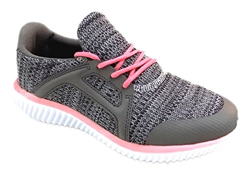 Womens Athletic Knit Mesh Running Sneaker Light Weight Go Easy Walking Casual Comfort Running Shoes 2.0 (8, Grey and Pink - J3947B)