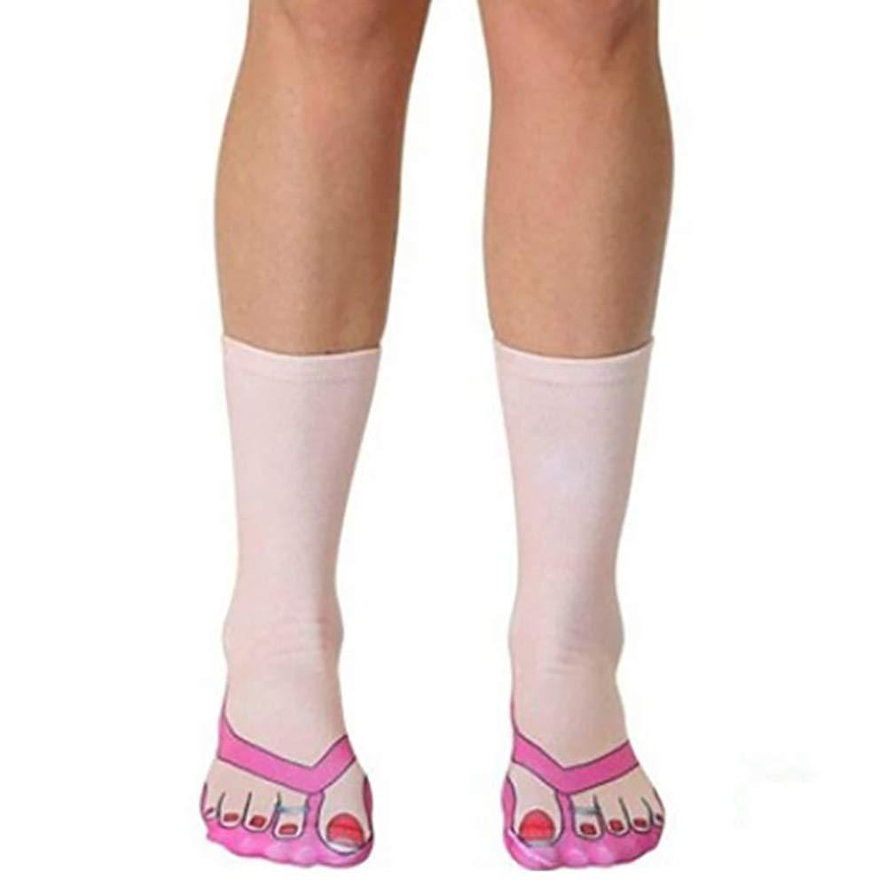 Ryshman 3D pattern socks women Print Socks Casual Personalized Flip Flop Socks Low Cut Ankle Socks (One Size, Women beige)
