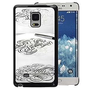 A-type Arte & diseño plástico duro Fundas Cover Cubre Hard Case Cover para Samsung Galaxy Mega 5.8 (Calligraphy Artist Pencil Pen Ink Tattoo)