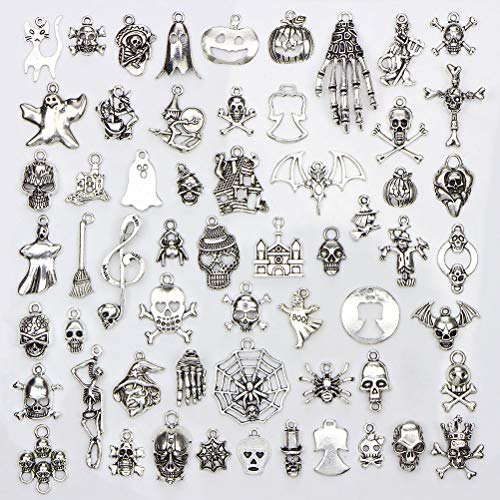 JUNKE Wholesale Retro Dangle Stars Moons Charm Beads Antique Bronze and Smooth Tibetan Silver Alloy Charms Pendants Bulk DIY Jewelry Findings for Making Necklace Bracelet (Halloween) -