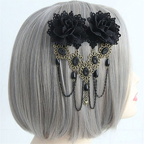 Vintage Black Rose Hair Clip Gothic Flower Bobby Pin Barrettes Hair Accessories ()