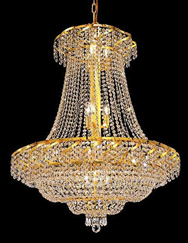 Elegant Lighting ECA2D30G/SA Swarovski Spectra Clear Crystal Belenus 18-Light, Two-Tier Crystal Chandelier, Finished in Gold with Clear Crystals ()