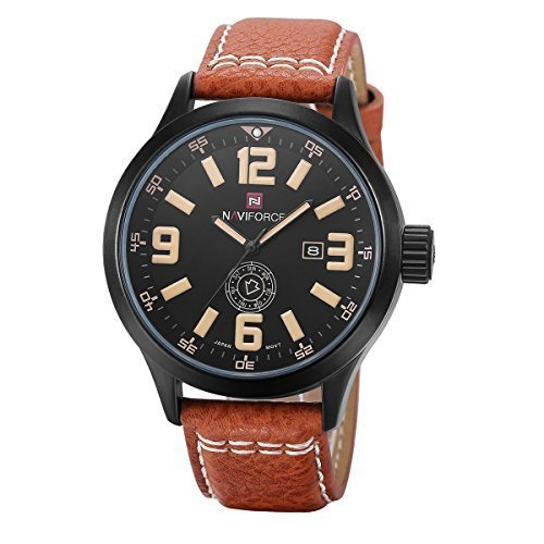 Harwish Men's Quartz Wrist Watch Casual Waterproof Leather Strap Wrist Watch Brown