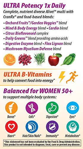 033674156926 - Nature's Way Alive! Once Daily Women's 50+ Ultra Potency Multi-Vitamin Supplement, 60 Tablets carousel main 5