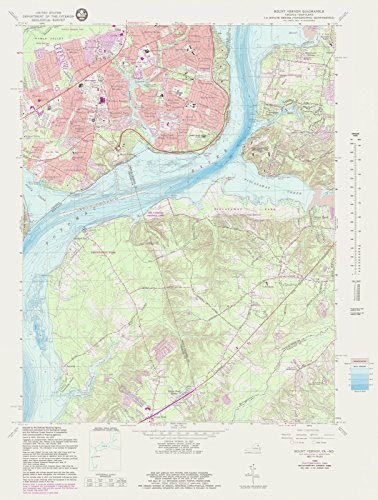 Historic Map | Mount Vernon Va Md, MD, VA, 1983 NOAA Topographic Bathymetric Map | Antique Vintage Decor Poster Wall Art Reproduction | 44in x 59in