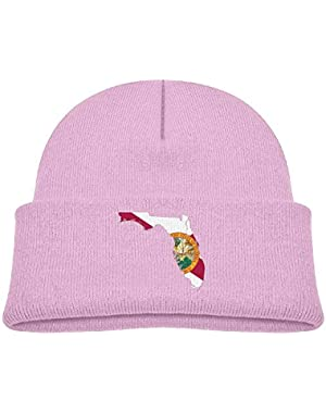Fashion Abstract Florida State Map with Flag Printed Teething Baby Winter Hat Beanie