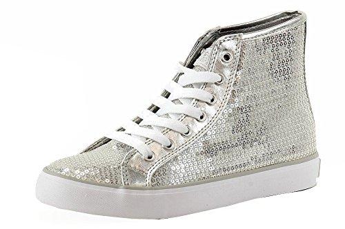 Gotta Flurt Hi Disco II Lace Up Top Sneaker, Silver, 7