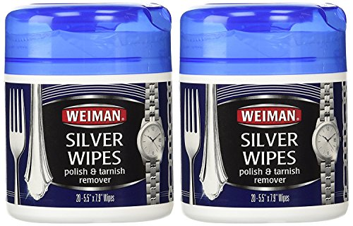 Weiman Silver Polish, Cleaner, and Tarnish Remover Wipes - 20 Count - 2 Pack - Use on Silver, Jewelry, Antique Silver, Gold, Brass, Copper and Aluminum
