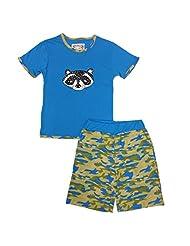 Kings n Queens Big Boys Blue Camo Raccoon Print Tee 2 Pc Shorts Set 6-14