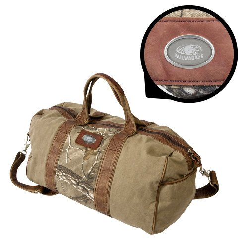 Wisconsin Milwaukee Canyon Realtree Camo Canvas Duffel 'Official Logo Engraved' by CollegeFanGear