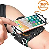 Phone Armband, Bovon Super Breathable Sports Arm Band for iPhone X/8/8 Plus/7/7 Plus/6/6S Plus, Galaxy S9/ S9 Plus/S8/S7, 360°Rotatable Running Armband with Key Holder for Hiking Biking (Black)