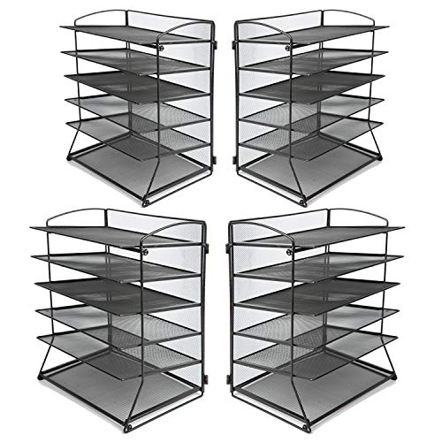 6-Tier Metal Mesh Desk File Organizer Desktop Letter Tray Paper Document Holder for Office Home School Black (4 Pack)