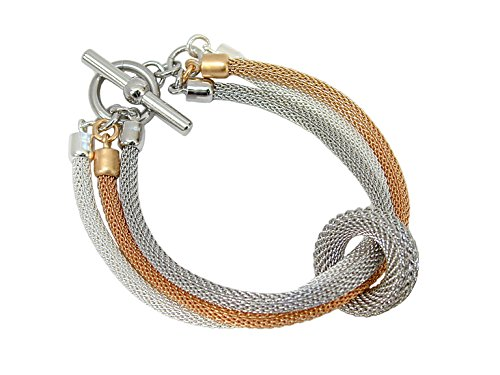3 Strand Mixed Color Mesh Bracelet with Floating Ring and Toggle Closure (silver-rhodium-gold)