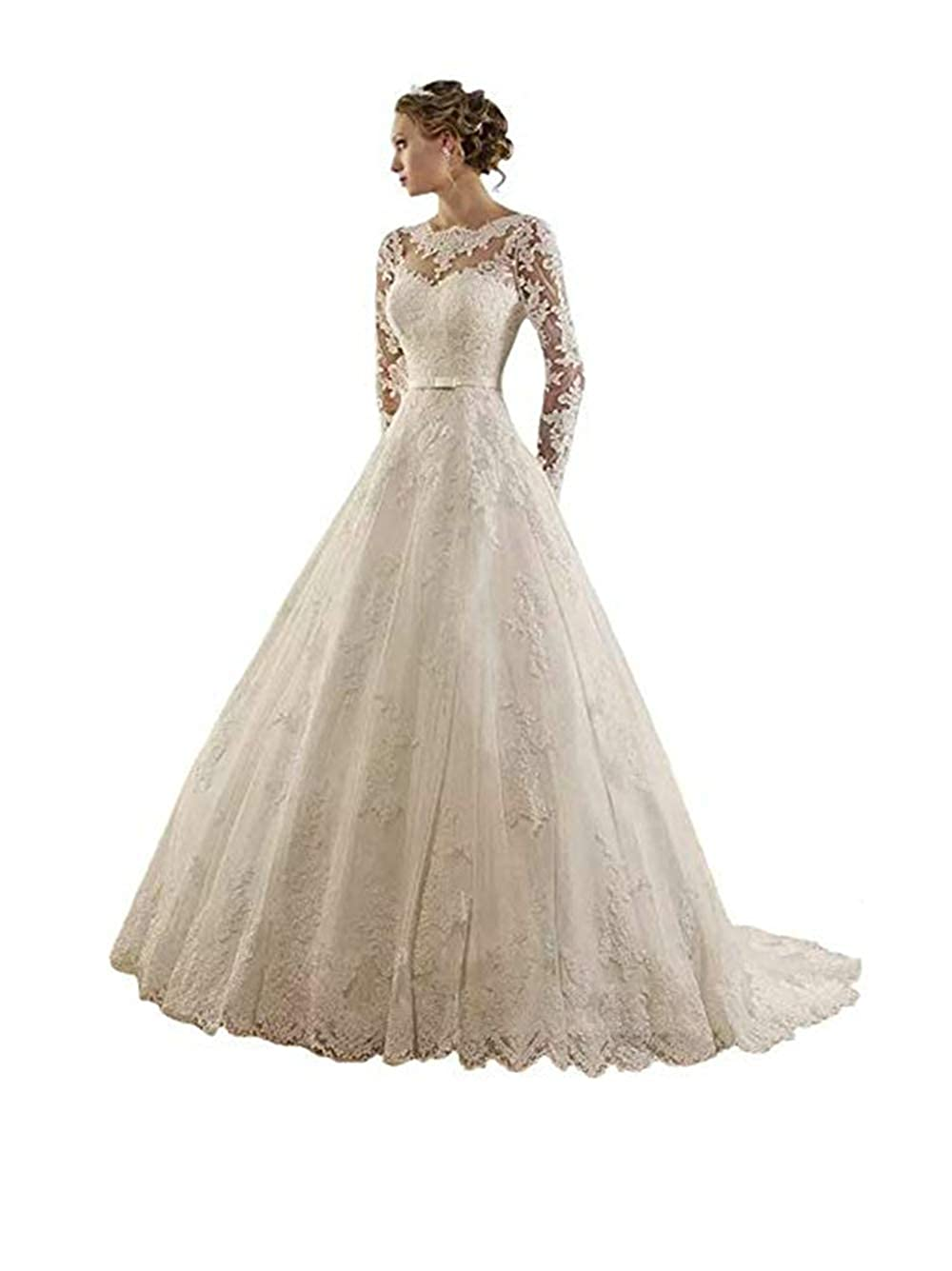 01white PROMNOVAS Women's V Neck Long Sleeves Appliques Bridal Gowns Aline Prom Gown