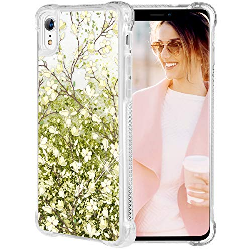 Caka iPhone XR Case, iPhone XR Floral Glitter Case Flower Pattern Series Sparkle Fashion Bling Luxury Flowing Liquid Floating Cute Glitter Soft TPU Clear Yellow Vine Case for iPhone XR (Olive Green)