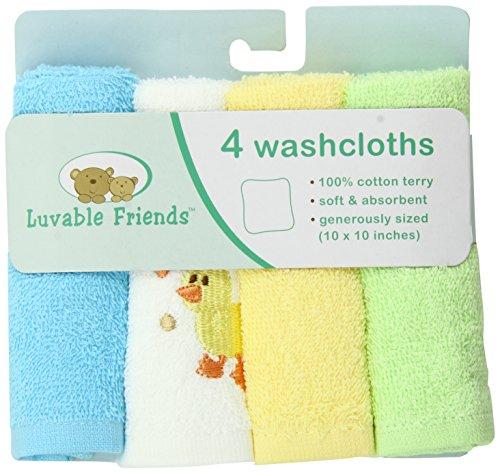 Débarbouillettes Luvable Friends Pack de 4 super-soft, Yellow Duck