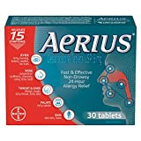 Aerius Allergy Medicine, Fast Relief, 24-Hour, Non-Drowsy, 15 Symptoms, 30 Tablets