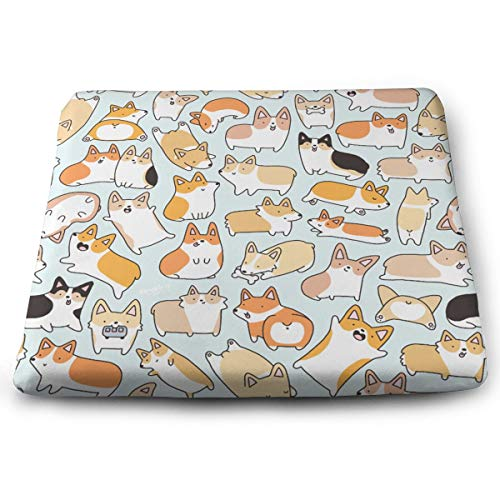 NiYoung Corgi Pattern Seat Cushion Memory Foam Cushion for Outdoor Patio Furniture Garden Home Office, Square Ergonomic Sit Cushion for Lower Back Tailbone Coccyx Hips ()