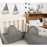 Clouds crib bumper Cotton Grey waffle 3 cushions