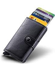 Kreditkartenetui Echtes Leder Kartenetui Geldklammer Portmonee Geldbeutel mit RFID Schutz für Alltag (Schwarz)