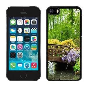 NEW Unique Custom Designed iPhone 5C Phone Case With Wooden Bridge Blue Flowers Green Trees_Black Phone Case