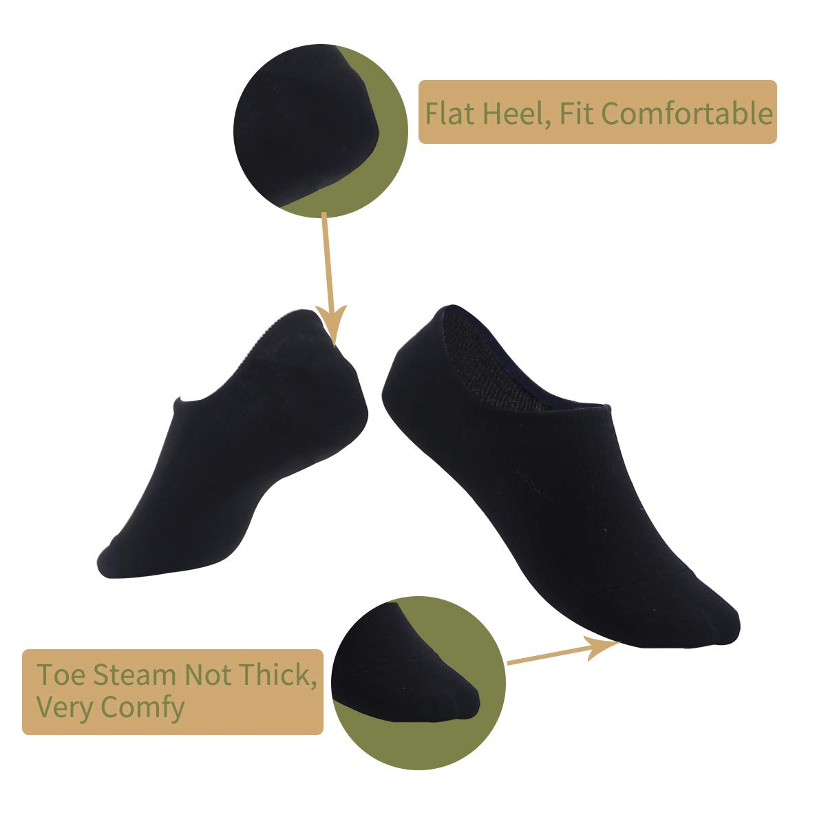 Greuame Low Cut Liner Socks, Combed Cotton Non-Slip Socks for Women 5 Pack