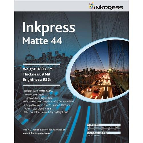 (Inkpress Duo Matte 44 Inkjet Printer Paper, Double Sided, 180gsm, 9mil, 95% Bright, 11x17