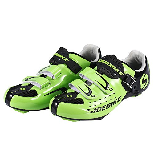 SUNVP Cycling Shoes Durable Women's and Men's All Road Bike Racing Comfortable Spin Shoes (44, Green)