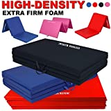 Fitness MANIAC Folding Mat Thick Foam Exercise Gymnastics Panel Gym Tri and Four Fold Mat Non Slip Mats with Carrying Handles Yoga Aerobics Workout Training Red Black Blue Pink