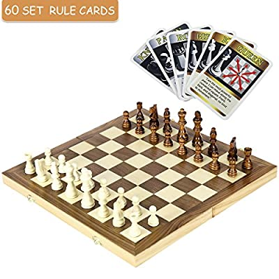 "iBaseToy Wooden Chess Set with 60 Game Rules Cards and Folding Chess Board - Perfect Travel Chess Set for Kids and Adults, 15.4"" x 15.4"""