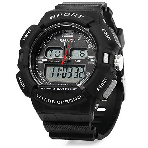 ELEOPTION® Male Watch Chronograph Calendar Digital LED Backlight Rubber Strap 3BAR Water Resistant Bracelet Watch - Price Ferrari Australia