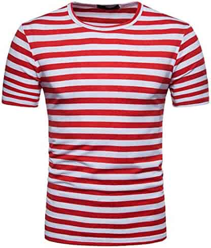 Clearance! Hot sale ! Charberry Men's Summer Casual Stripe Round Neck Pullover T-shirt Top Blouse