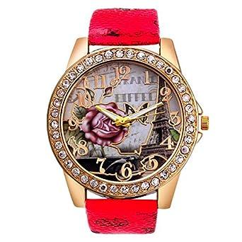 DressLksnf_Reloj Moda para Mujer Pulsera del Reloj Metal Durable Brazalete de Reloj Bonito Cadena de Cuero Imprimiendo Elegante Superficie Estampado de Rosa ...