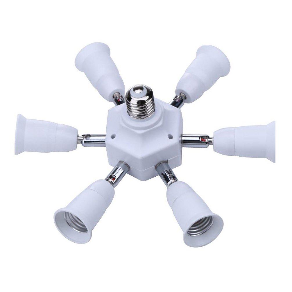 E27 Socket Adapter to 7 E27 Standard LED Bulbs Splitter Adapter ,E26 E27 Universal lamp holder with 360 Degrees Adjustable 180 Degree Bending (7 in 1 Socket Adapter)
