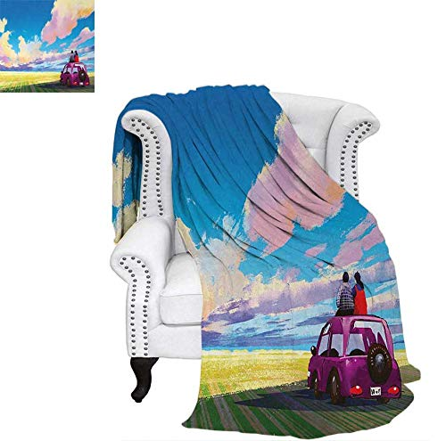 (Lightweight Blanket Young Couple Sitting on Car in Front of Dramatic Landscape Farmhouse Soul Mates Print Digital Printing Blanket 90