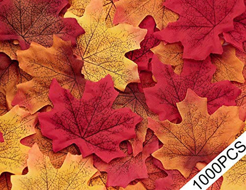 Moon Boat 1000PCS Fall Artificial Maple Leaves Decorations - Thanksgiving Autumn Leaf Wedding Party Table Decor