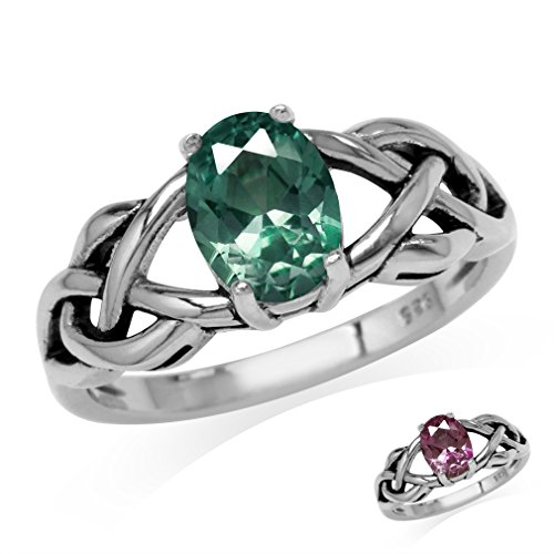 Simulated Color Change Alexandrite 925 Sterling Silver Celtic Knot Solitaire Ring Size (Simulated Alexandrite Ring)