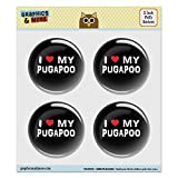 """Puffy Bubble Dome Scrapbooking Crafting Stickers - I Love My Pugapoo Stylish - Set of 4 - 2.0"""" (51mm) Diameter Each"""