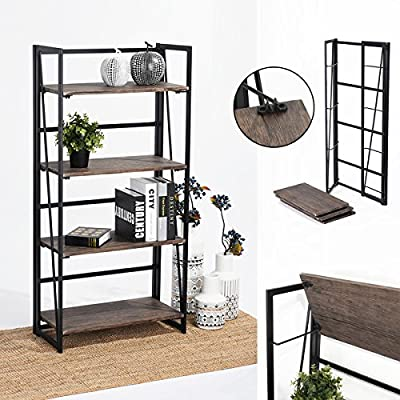 Coavas Folding Bookshelf Rack 4-Tiers Bookcase Home Office Shelf Storage Rack No-Assembly Industrial Stand Sturdy Shelf Organizer 23.6 X 11.6 X 49.2 Inches