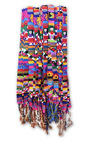 (Mayan Arts Colorful Belts, Boy and Girl Motifs Giving Ties, Traditional Guatemalan Handmade/Hatband, Wrap Around self tie, (Set of 3) 1