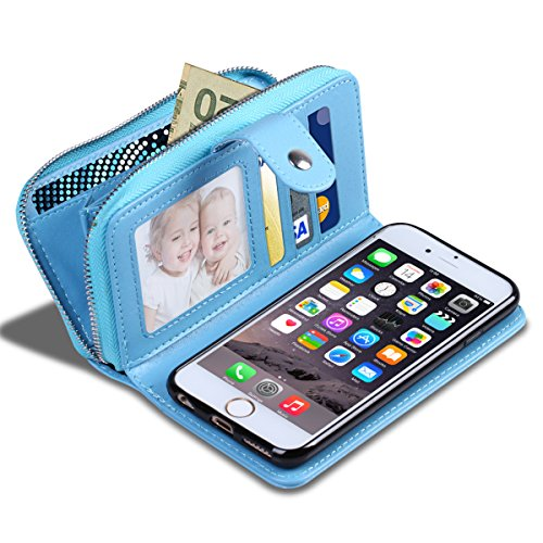 iPhone 6S Plus Case, Vofolen [Zipper Wallet] iPhone 6 Plus Cover PU Leather Protective Shell Detachable Magnetic Folio Flip Holster Card Holder for iPhone 6 Plus 6S Plus 5.5 inch -Light Blue