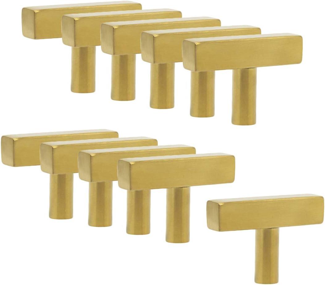 or Probrico Poign/ée de porte en forme de T en acier inoxydable et laiton bross/é dor/é