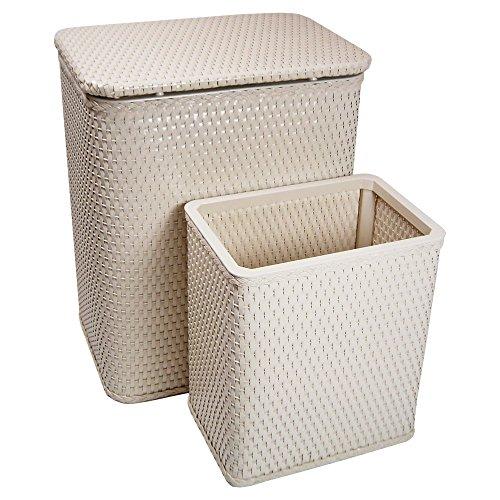 RedmonUSA for Kids Chelsea Wicker Nursery Hamper and Matching Wastebasket, Cream