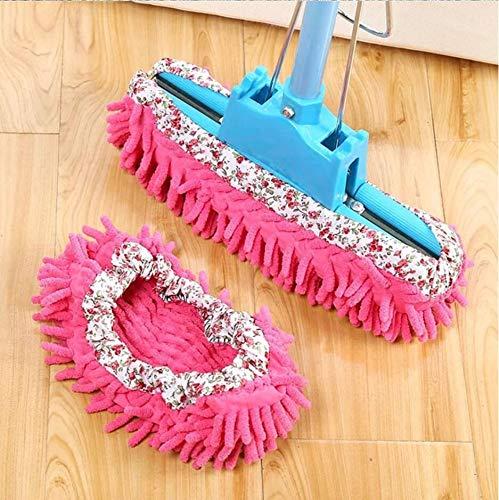 Amaoma 1 par de zapatillas de estar por casa con felpilla desmontable para fregar el suelo fregona color rosa rojo limpieza de suelo