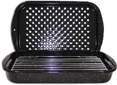 Columbian Home Products 0513-2 Broiler Pan With Rack, Black Porcelain Enamel, 3-Pc.