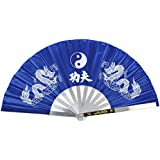Kung Fu Tai Chi Double Dragon Stainless Steel Rib Taiji Fan Blue