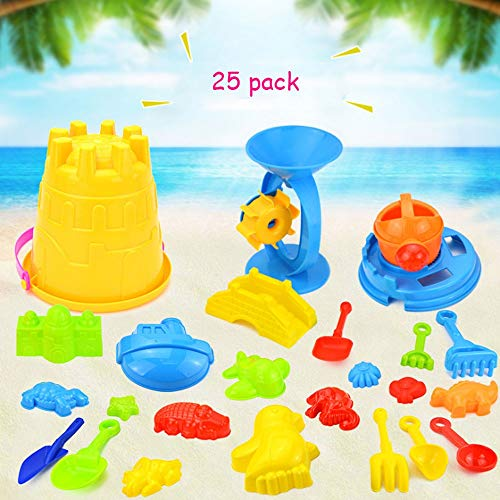 AIOJY Child Castle Toy Bagged Bucket Many Colours Beach Knick-Knack Summer Seaside Mold Supporting Tool Puzzle Plaything Child Kitchen Bauble Suit (25 ()